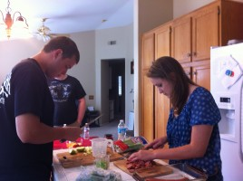 Katherine & Daniel making stuffing