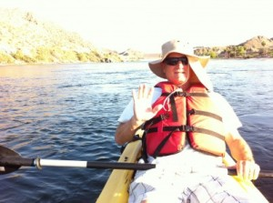 Kevin relaxing on our Kayaking trip