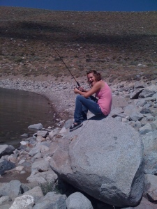 Daughter fishing