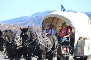 49er parade- These brave 49ers came all the way from Las Vegas to Death Valley on covered wagon.