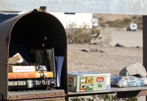 Peg Leg- I'm told this is a great beginner boondocking spot. It looks like a nice community of boondockers its a very small area. This is the free book-swap mailbox. I saw DVD's and puzzles for swapping too. :)