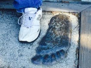 Kevins foot next to bigfoot