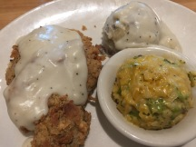 Chicken Fried Steak with garlic mashed potatoes & broccoli rice casserole